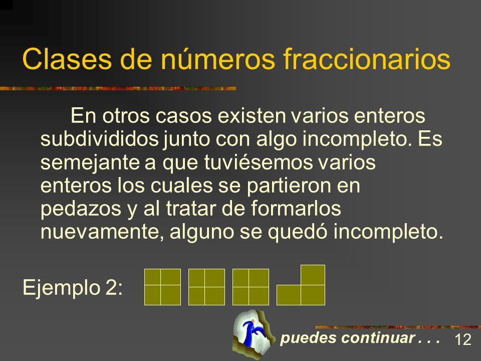 Clases de números fraccionarios Una fracción es algo incompleto. No obstante existen situaciones en las que un entero se ha dividido en partes y todas
