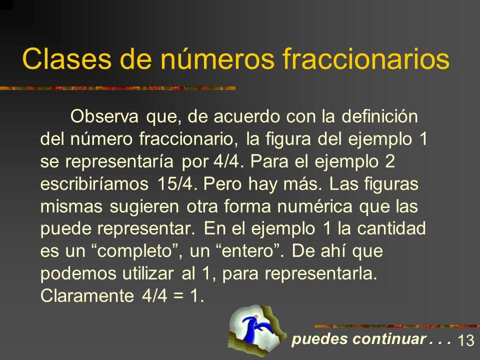 Clases de números fraccionarios En otros casos existen varios enteros subdivididos junto con algo incompleto. Es semejante a que tuviésemos varios ent