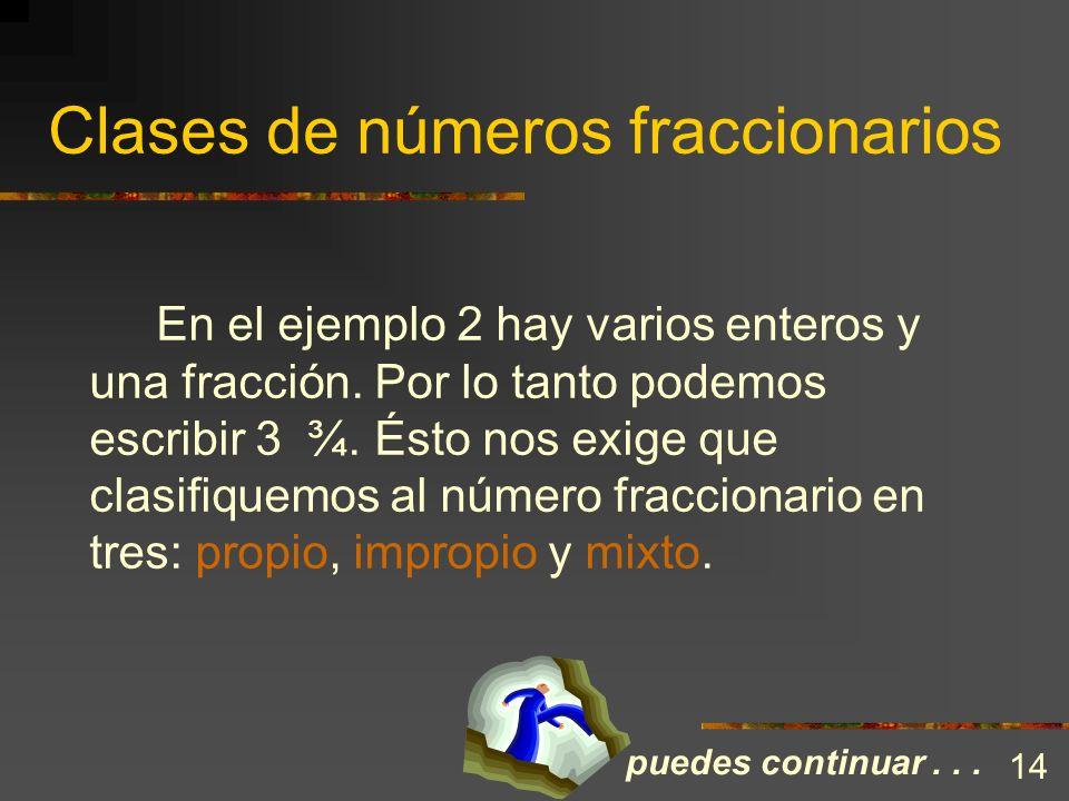 Clases de números fraccionarios Observa que, de acuerdo con la definición del número fraccionario, la figura del ejemplo 1 se representaría por 4/4. P