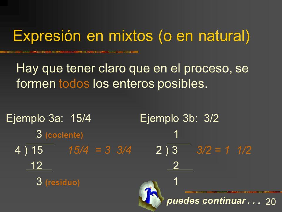 Expresión en mixtos (o en natural) Para expresar un impropio en natural o mixto es innecesario recurrir a diagramas. Basta con determinar cuántos ente