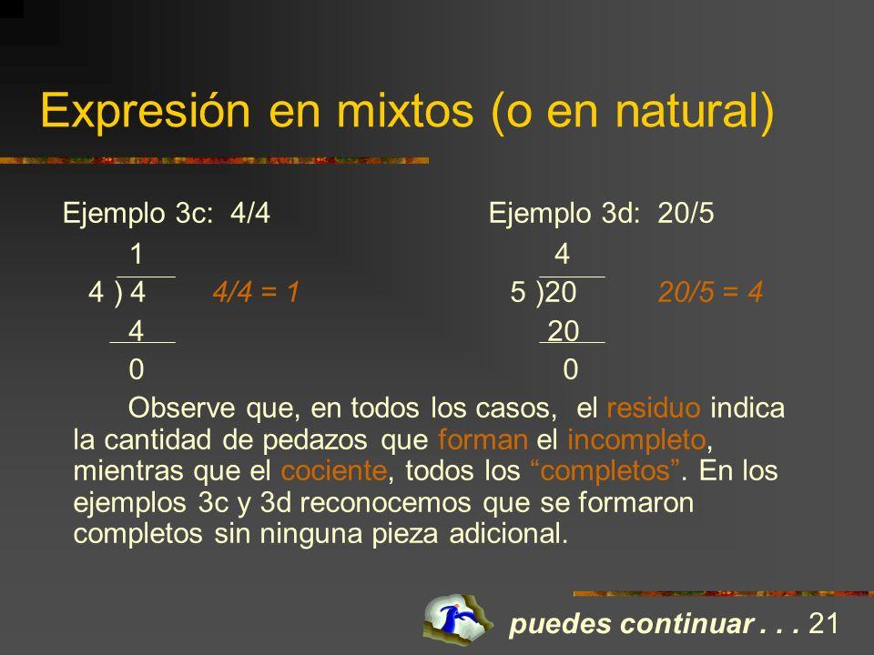 Expresión en mixtos (o en natural) Hay que tener claro que en el proceso, se formen todos los enteros posibles. Ejemplo 3a: 15/4 Ejemplo 3b: 3/2 3 (co