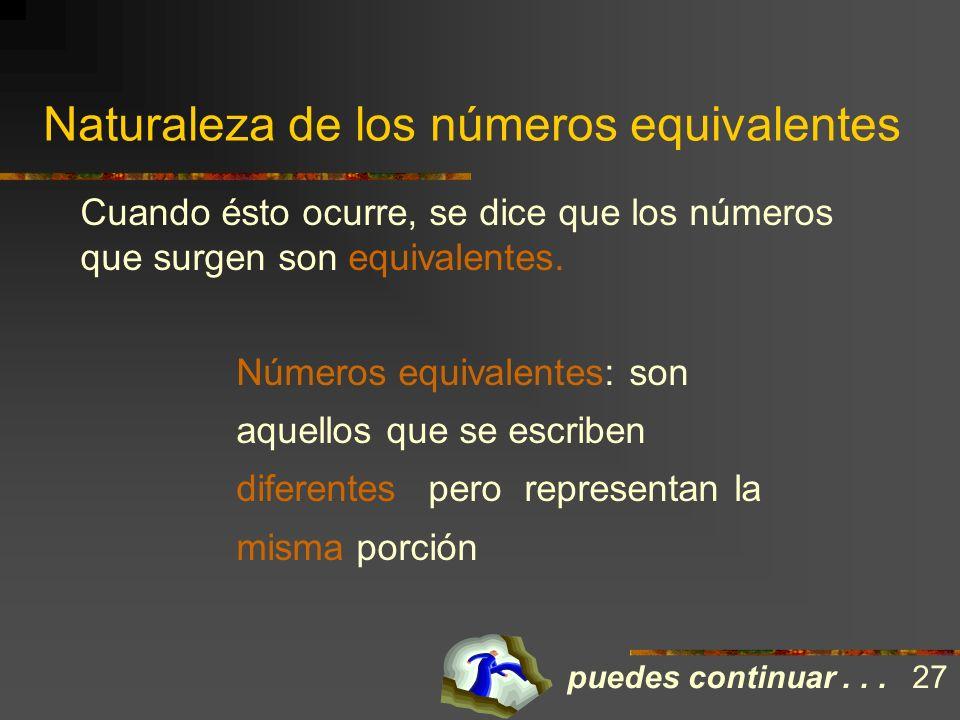 La naturaleza de los números equivalentes ¿Pudiste apreciar que según cambia la forma de dividir el entero, se tiene que asignar un número diferente?