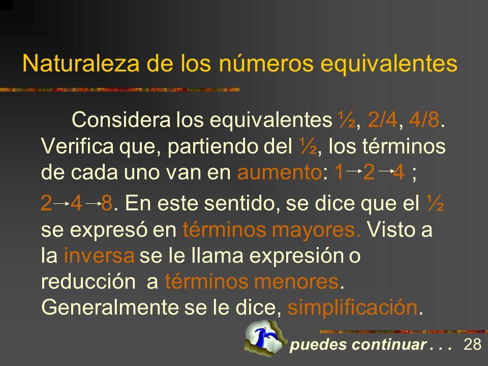 Naturaleza de los números equivalentes Cuando ésto ocurre, se dice que los números que surgen son equivalentes. Números equivalentes: son aquellos que