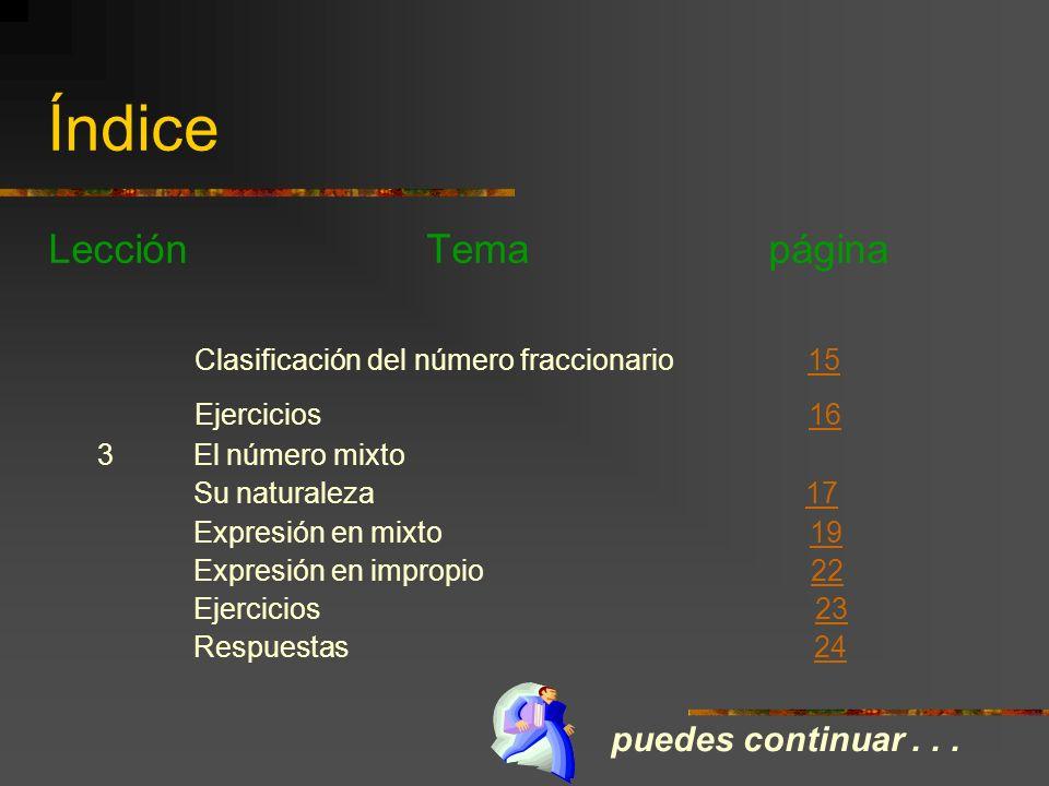 Índice Lección Temas página 1 Naturaleza del número fraccionario Origen 66 Escritura 77 Ejercicios 99 Respuestas 1010 2 Clasificación del número fracc