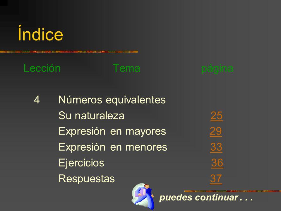 Índice Lección Tema página Clasificación del número fraccionario 15 Ejercicios 16 3 El número mixto Su naturaleza 17 Expresión en mixto 19 Expresión e