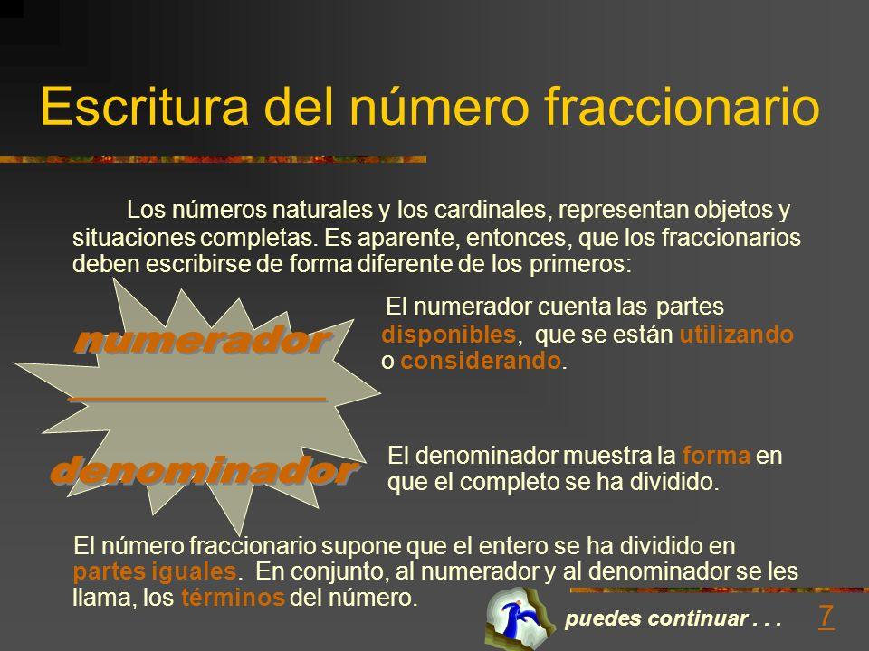 El origen del número fraccionario Semejante a otros muchos conceptos matemáticos, el número fraccionario surge de una necesidad práctica. Fracción: Pe