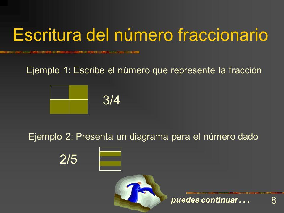 Escritura del número fraccionario Los números naturales y los cardinales, representan objetos y situaciones completas. Es aparente, entonces, que los