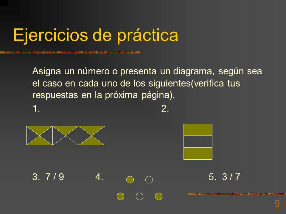 Escritura del número fraccionario Ejemplo 1: Escribe el número que represente la fracción 3/4 Ejemplo 2: Presenta un diagrama para el número dado 2/5