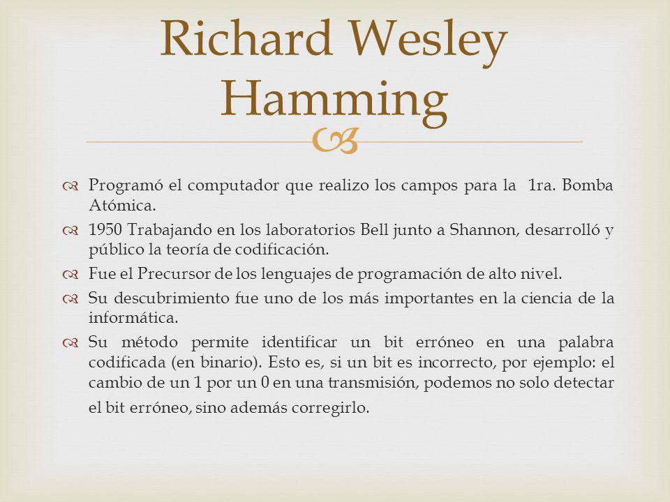 Richard Wesley Hamming Programó el computador que realizo los campos para la 1ra. Bomba Atómica. 1950 Trabajando en los laboratorios Bell junto a Shan