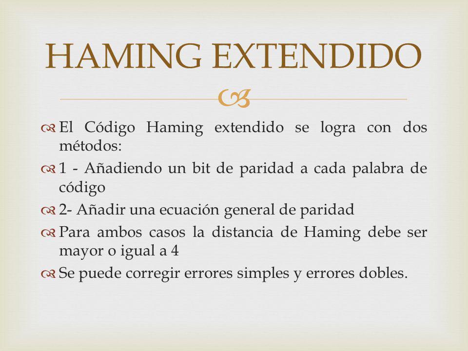 El Código Haming extendido se logra con dos métodos: 1 - Añadiendo un bit de paridad a cada palabra de código 2- Añadir una ecuación general de parida