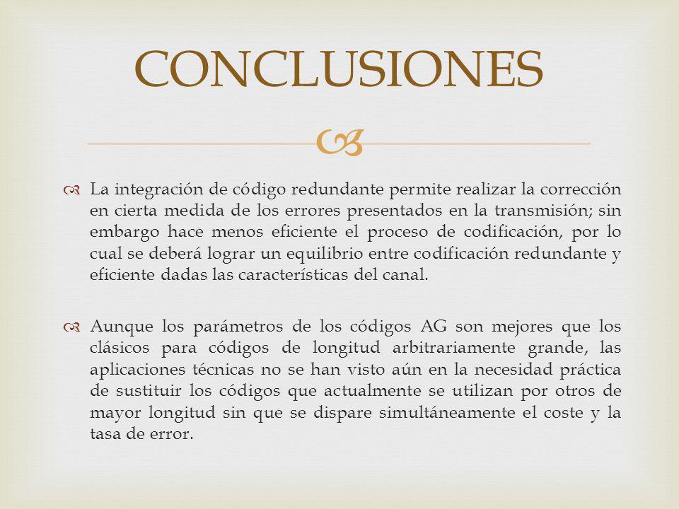 CONCLUSIONES La integración de código redundante permite realizar la corrección en cierta medida de los errores presentados en la transmisión; sin emb