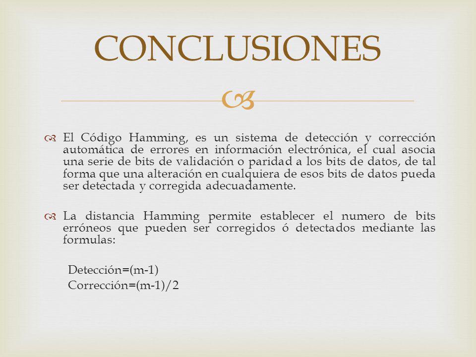 CONCLUSIONES El Código Hamming, es un sistema de detección y corrección automática de errores en información electrónica, el cual asocia una serie de
