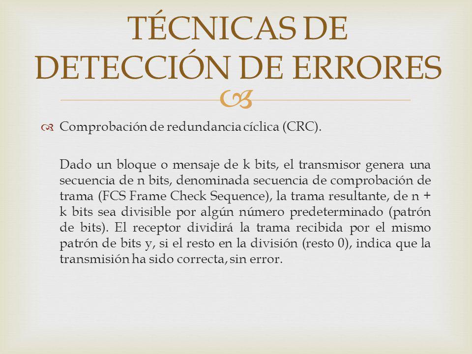 Comprobación de redundancia cíclica (CRC). Dado un bloque o mensaje de k bits, el transmisor genera una secuencia de n bits, denominada secuencia de c