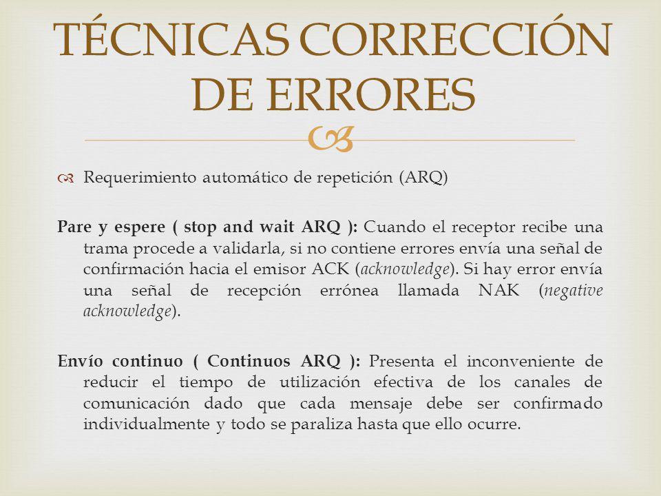 Requerimiento automático de repetición (ARQ) Pare y espere ( stop and wait ARQ ): Cuando el receptor recibe una trama procede a validarla, si no conti
