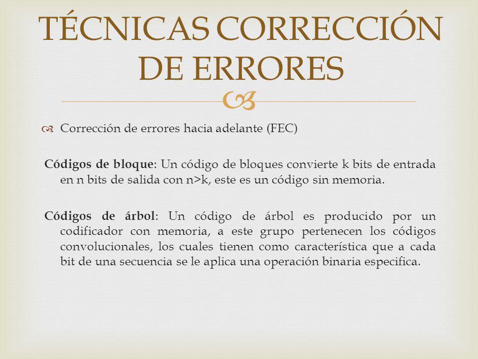 Corrección de errores hacia adelante (FEC) Códigos de bloque : Un código de bloques convierte k bits de entrada en n bits de salida con n>k, este es u