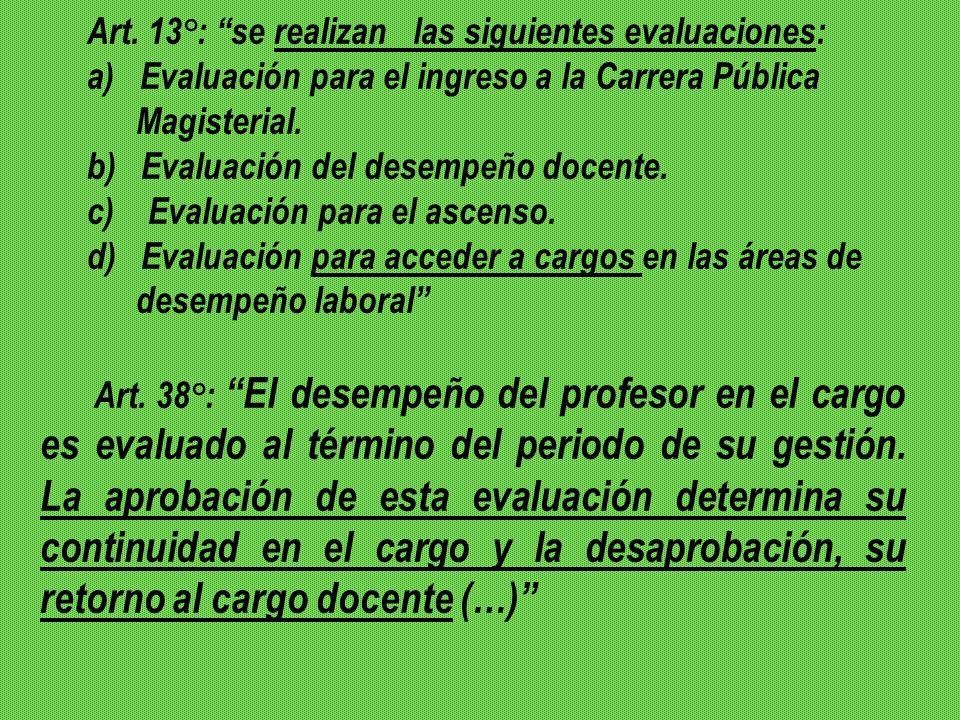 Art. 13°: se realizan las siguientes evaluaciones: a) Evaluación para el ingreso a la Carrera Pública Magisterial. b) Evaluación del desempeño docente