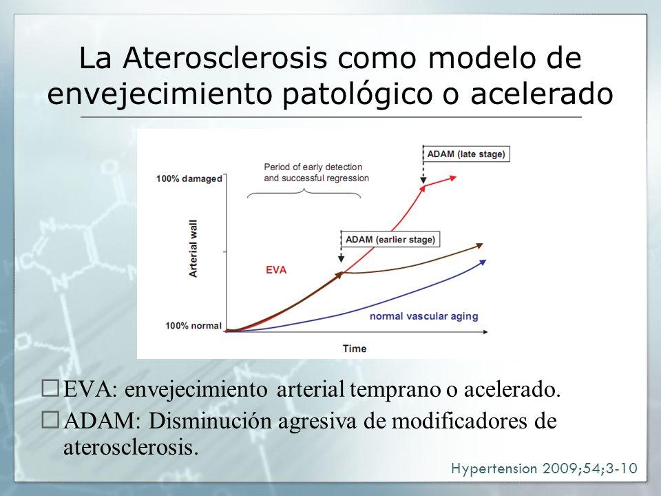 La Aterosclerosis como modelo de envejecimiento patológico o acelerado EVA: envejecimiento arterial temprano o acelerado. ADAM: Disminución agresiva d