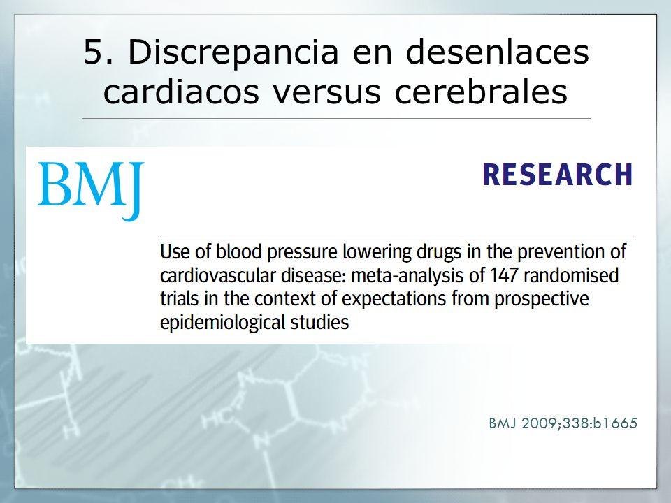 5. Discrepancia en desenlaces cardiacos versus cerebrales BMJ 2009;338:b1665