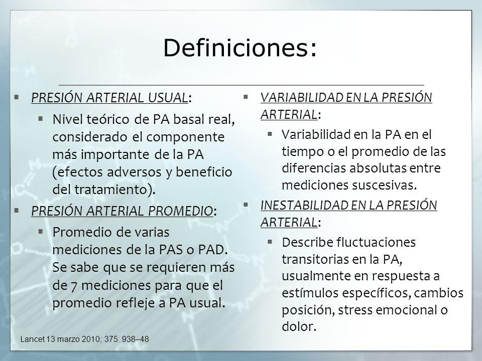 Definiciones: PRESIÓN ARTERIAL USUAL: Nivel teórico de PA basal real, considerado el componente más importante de la PA (efectos adversos y beneficio