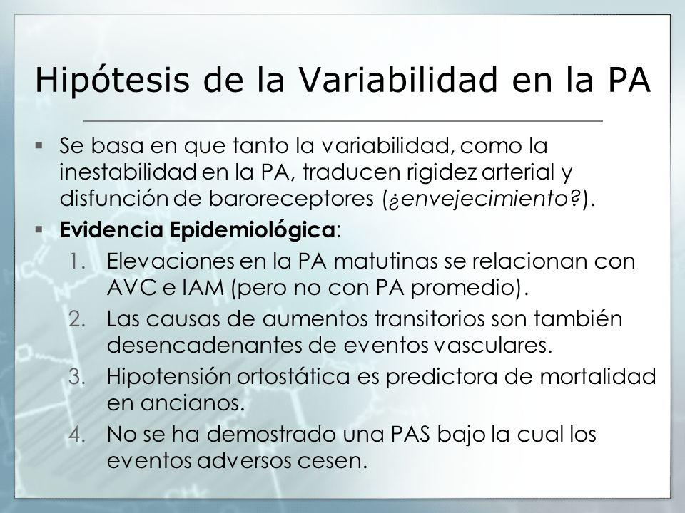 Hipótesis de la Variabilidad en la PA Se basa en que tanto la variabilidad, como la inestabilidad en la PA, traducen rigidez arterial y disfunción de