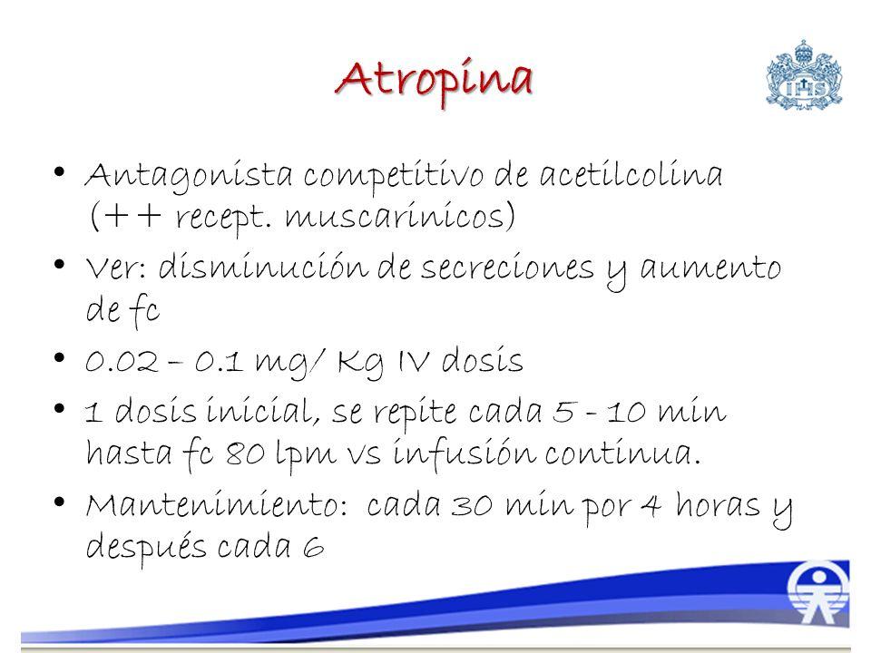 Atropina Antagonista competitivo de acetilcolina (++ recept. muscarinicos) Ver: disminución de secreciones y aumento de fc 0.02 – 0.1 mg/ Kg IV dosis