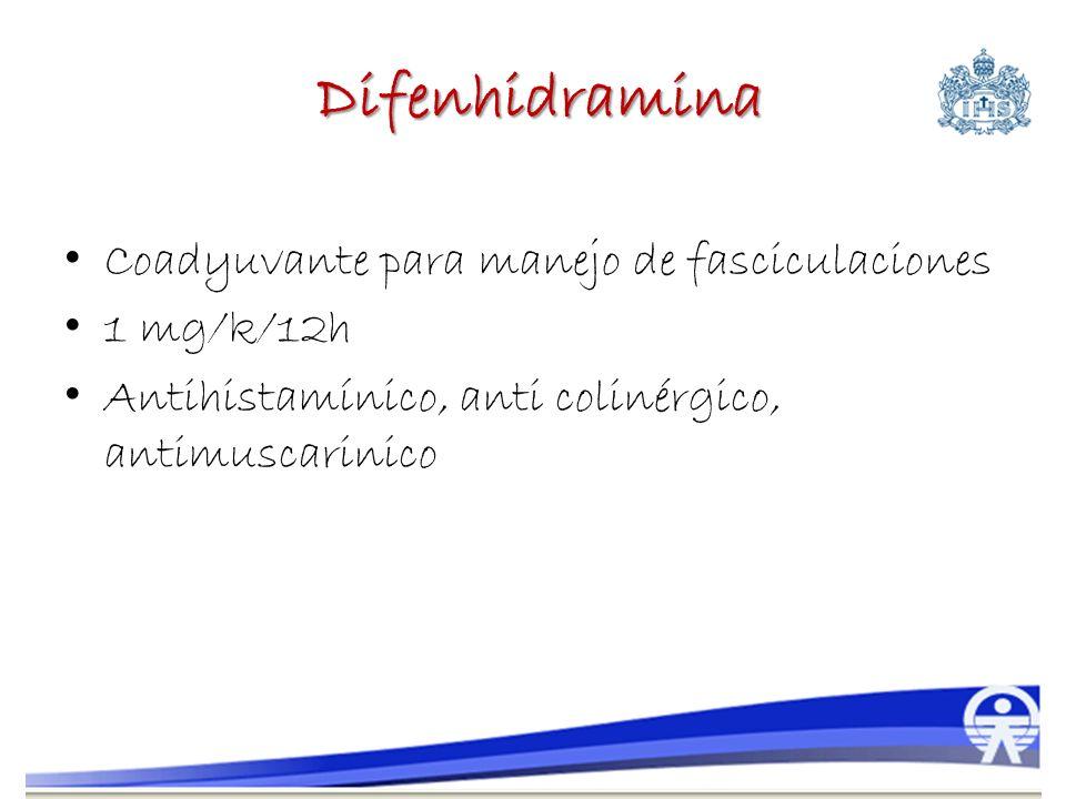 Difenhidramina Coadyuvante para manejo de fasciculaciones 1 mg/k/12h Antihistamínico, anti colinérgico, antimuscarinico