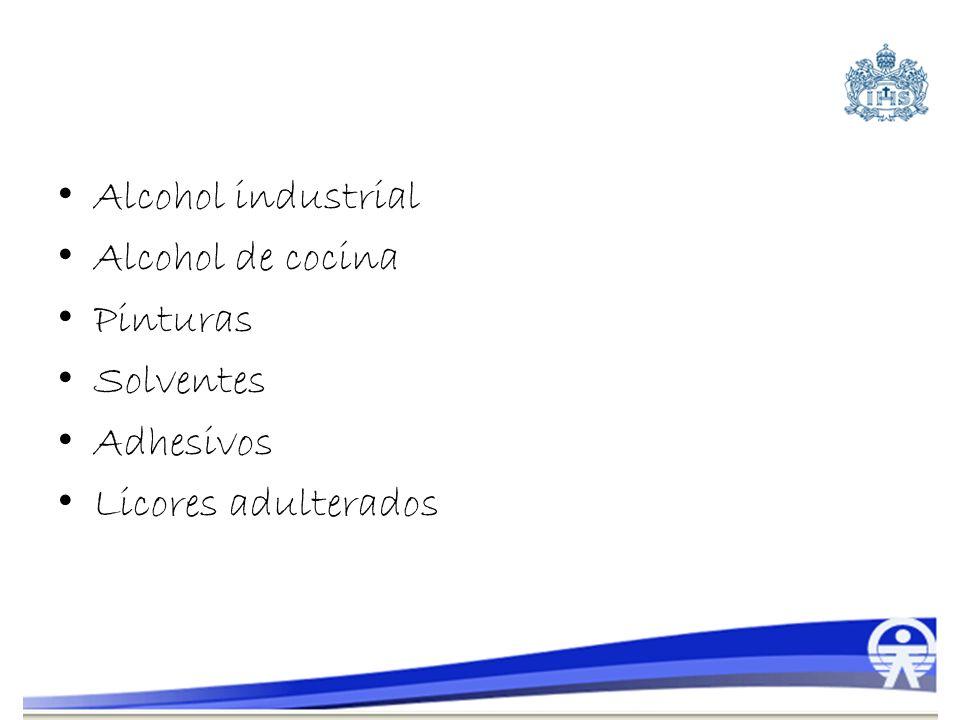 Alcohol industrial Alcohol de cocina Pinturas Solventes Adhesivos Licores adulterados