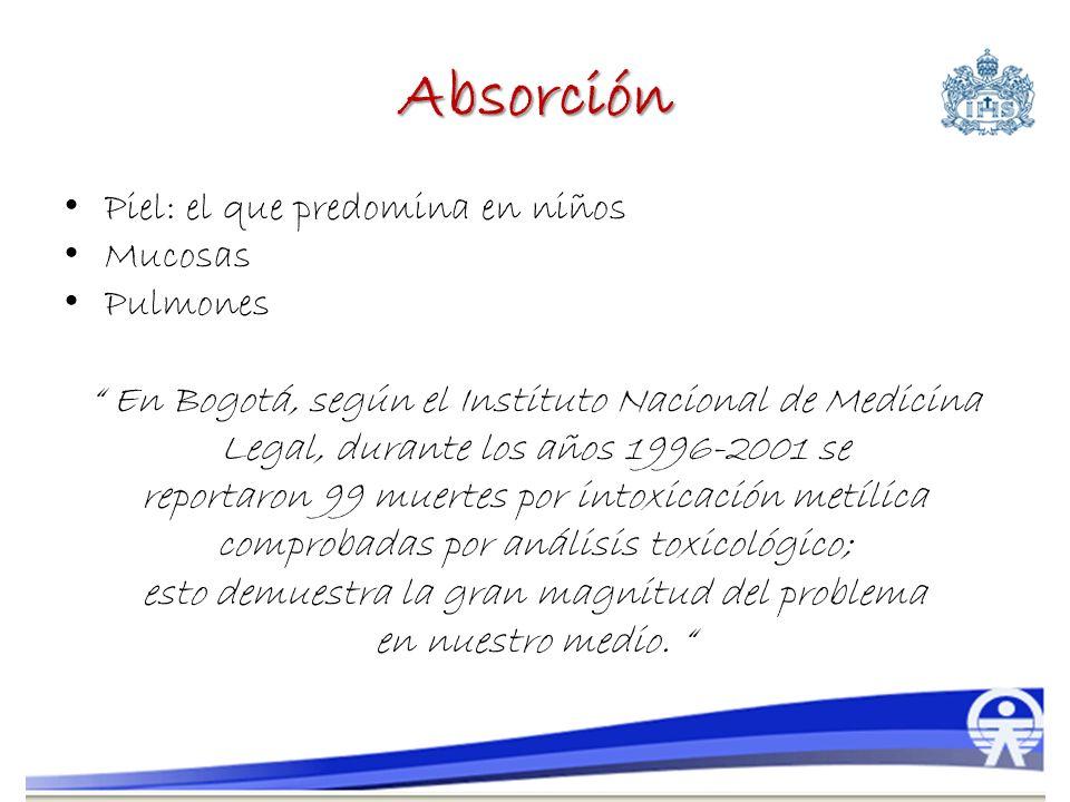 Absorción Piel: el que predomina en niños Mucosas Pulmones En Bogotá, según el Instituto Nacional de Medicina Legal, durante los años 1996-2001 se rep