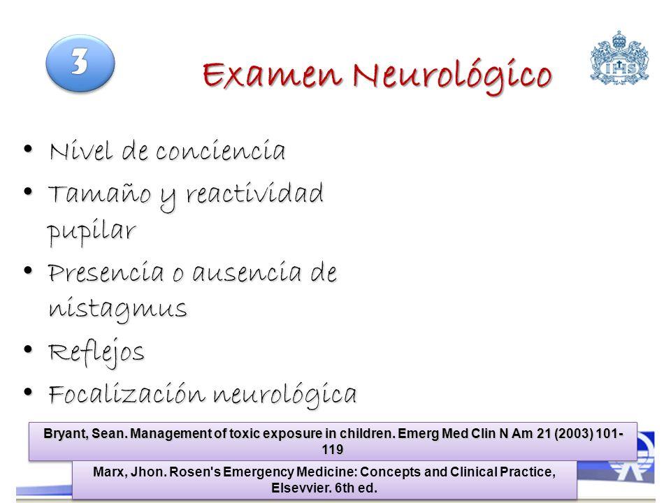 Examen Neurológico Nivel de conciencia Nivel de conciencia Tamaño y reactividad pupilar Tamaño y reactividad pupilar Presencia o ausencia de nistagmus