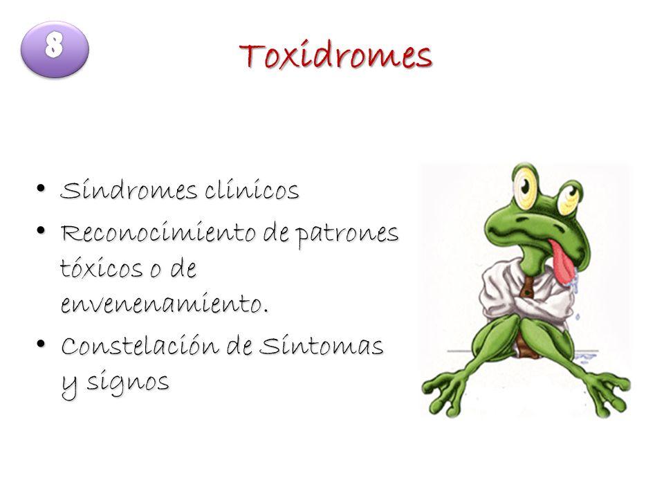 Toxidromes Síndromes clínicos Síndromes clínicos Reconocimiento de patrones tóxicos o de envenenamiento. Reconocimiento de patrones tóxicos o de enven