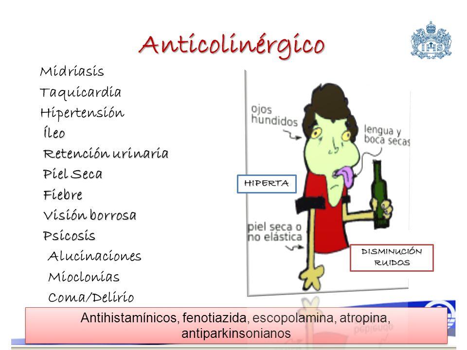 Anticolinérgico Midriasis Taquicardia HipertensiónÍleo Retención urinaria Piel Seca Fiebre Visión borrosa Psicosis Alucinaciones Mioclonias Coma/Delir
