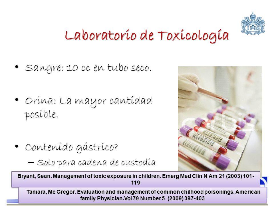 Laboratorio de Toxicología Sangre: 10 cc en tubo seco. Sangre: 10 cc en tubo seco. Orina: La mayor cantidad posible. Orina: La mayor cantidad posible.