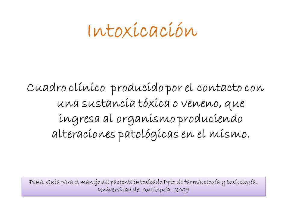Intoxicación Cuadro clínico producido por el contacto con una sustancia tóxica o veneno, que ingresa al organismo produciendo alteraciones patológicas