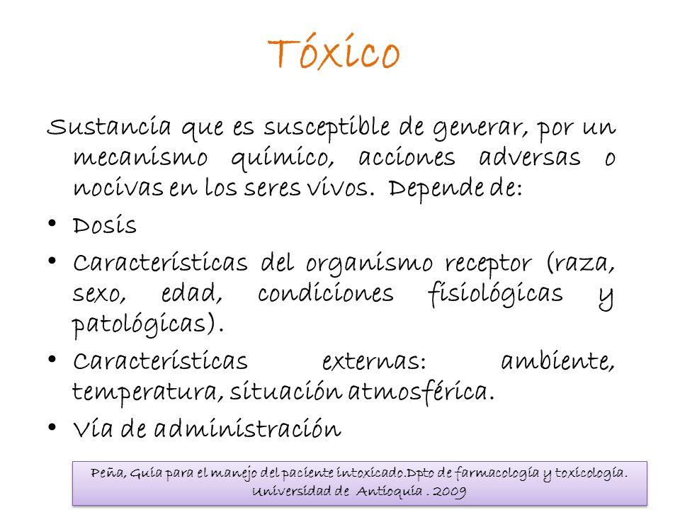 Tóxico Sustancia que es susceptible de generar, por un mecanismo químico, acciones adversas o nocivas en los seres vivos. Depende de: Dosis Caracterís