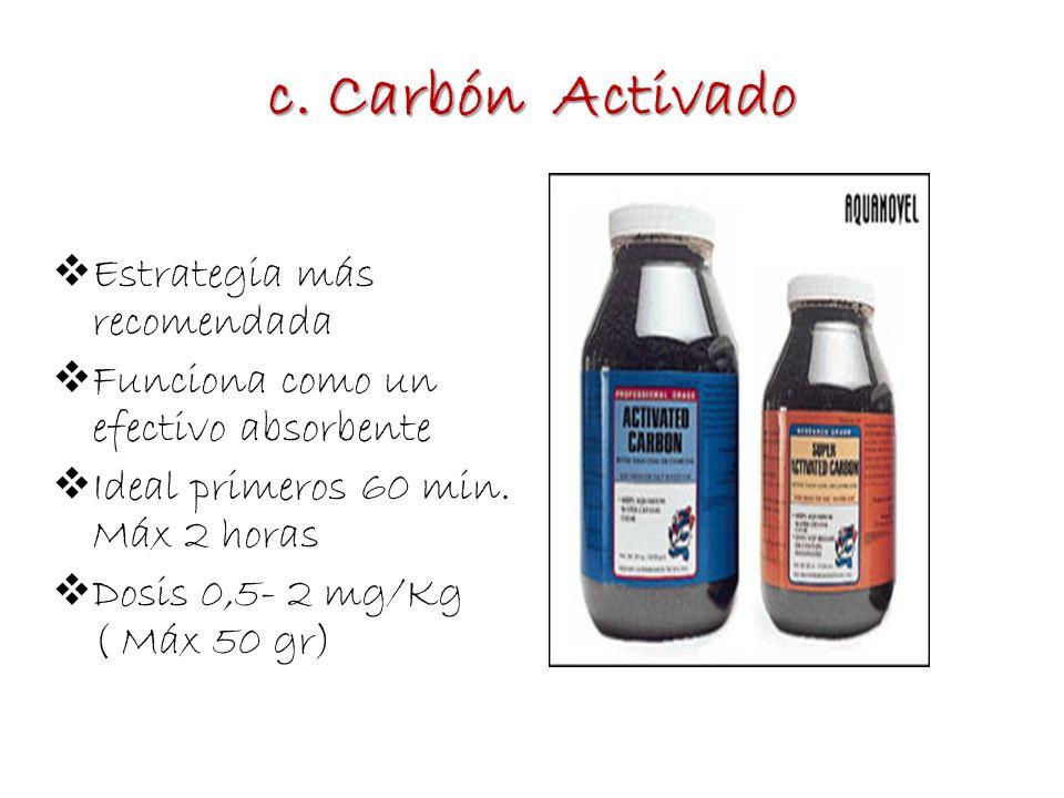 c. Carbón Activado Estrategia más recomendada Funciona como un efectivo absorbente Ideal primeros 60 min. Máx 2 horas Dosis 0,5- 2 mg/Kg ( Máx 50 gr)