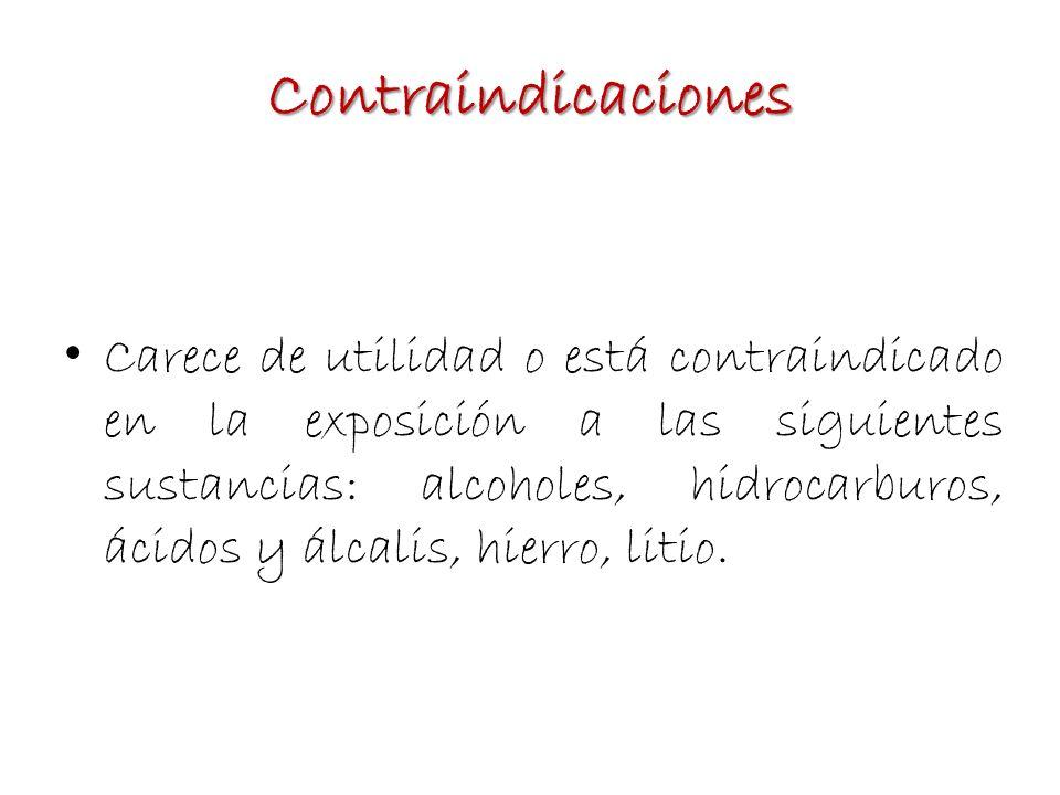 Contraindicaciones Carece de utilidad o está contraindicado en la exposición a las siguientes sustancias: alcoholes, hidrocarburos, ácidos y álcalis,