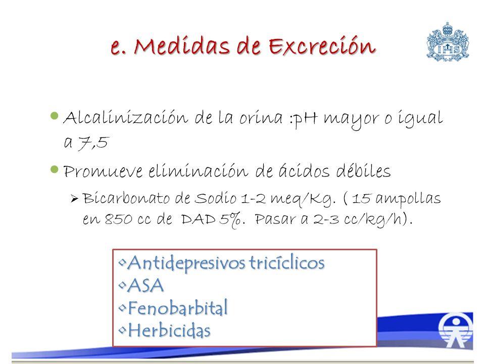 e. Medidas de Excreción Alcalinización de la orina :pH mayor o igual a 7,5 Promueve eliminación de ácidos débiles Bicarbonato de Sodio 1-2 meq/Kg. ( 1
