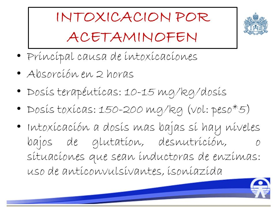 Principal causa de intoxicaciones Absorción en 2 horas Dosis terapéuticas: 10-15 mg/kg/dosis Dosis toxicas: 150-200 mg/kg (vol: peso*5) Intoxicación a