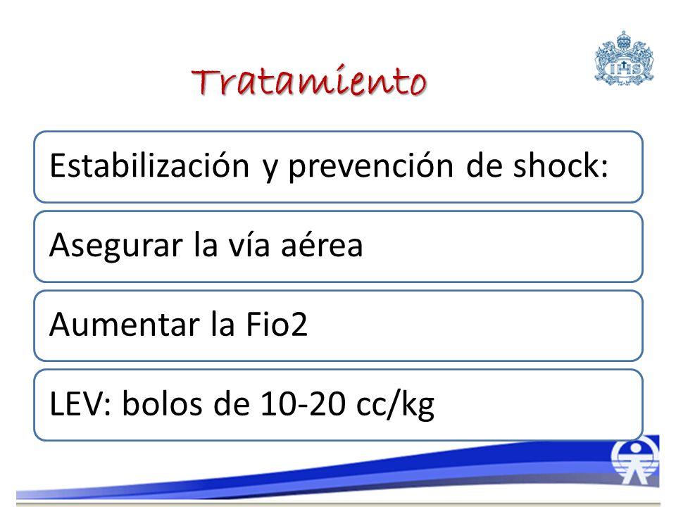 Estabilización y prevención de shock:Asegurar la vía aéreaAumentar la Fio2LEV: bolos de 10-20 cc/kg Tratamiento
