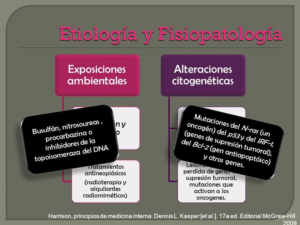 Exposiciones ambientales Radiación y benceno Tratamientos antineoplásicos (radioterapia y alquilantes radiomiméticos ) Alteraciones citogenéticas Aneuploidia, translocaciones.