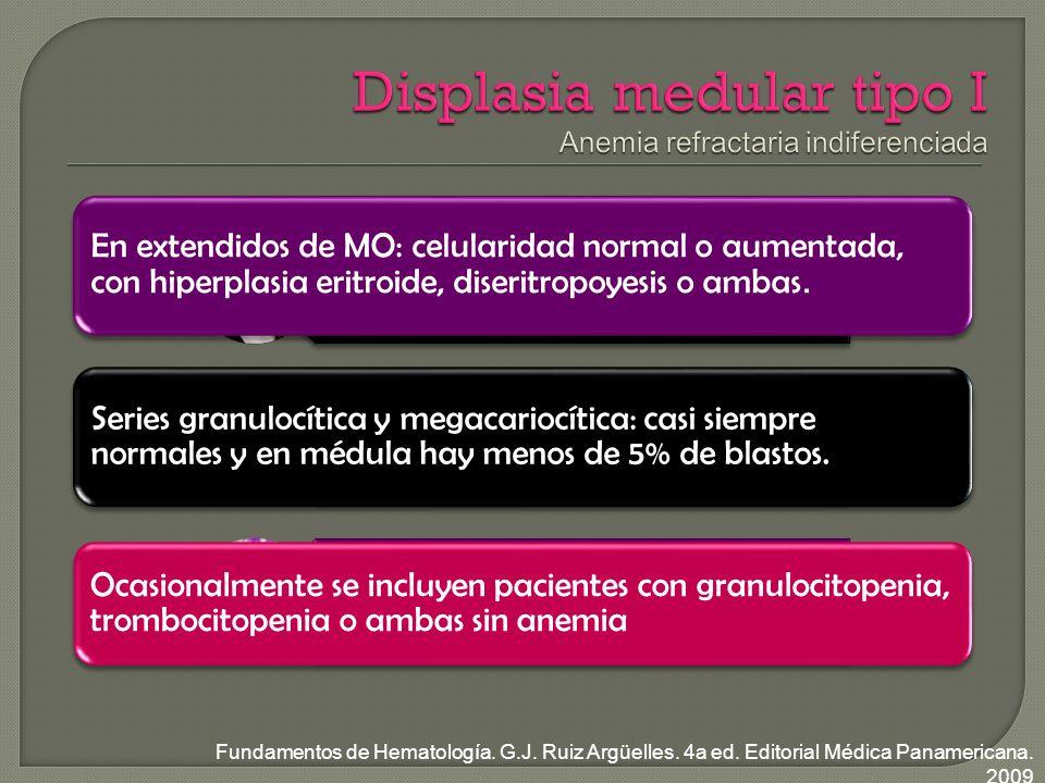 Mayores de 50 años Manifestaciones de anemia Reticulocitopenia, diseritropoyesis y disgranulopoyesis En extendidos de MO: celularidad normal o aumentada, con hiperplasia eritroide, diseritropoyesis o ambas.