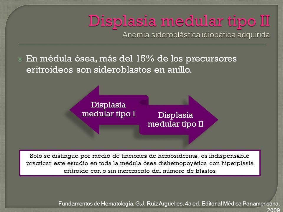 En médula ósea, más del 15% de los precursores eritroideos son sideroblastos en anillo.