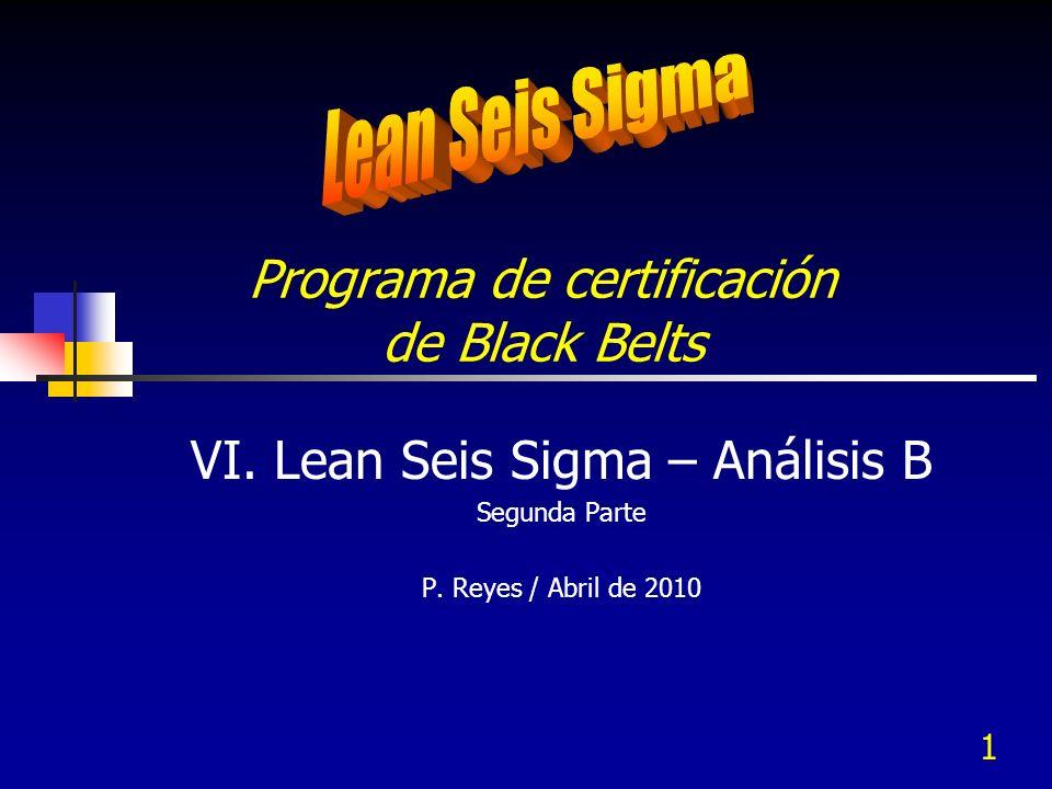1 Programa de certificación de Black Belts VI. Lean Seis Sigma – Análisis B Segunda Parte P. Reyes / Abril de 2010