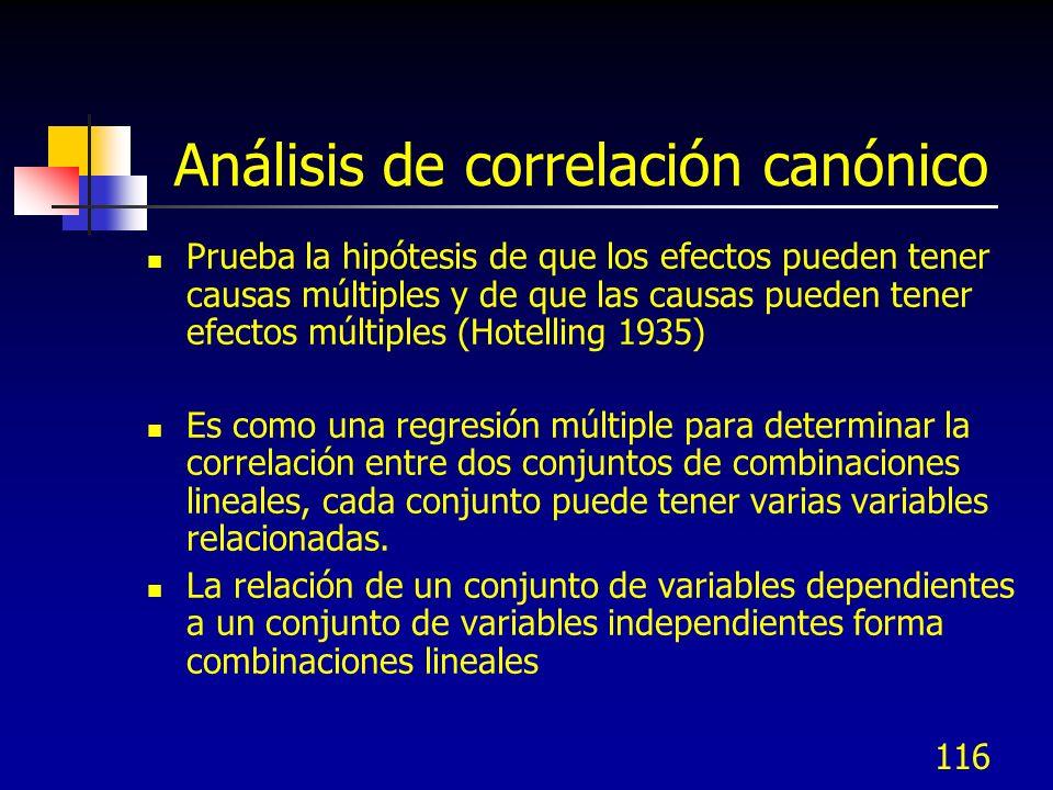116 Análisis de correlación canónico Prueba la hipótesis de que los efectos pueden tener causas múltiples y de que las causas pueden tener efectos múl