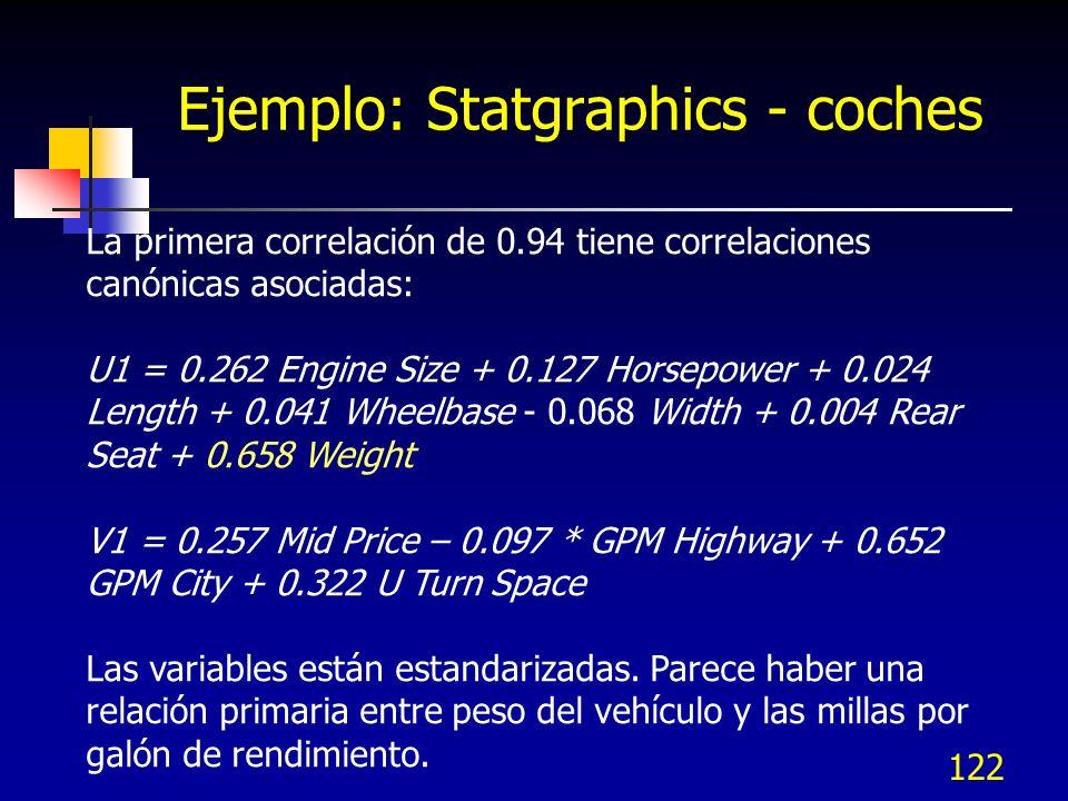 Ejemplo: Statgraphics - coches 122 La primera correlación de 0.94 tiene correlaciones canónicas asociadas: U1 = 0.262 Engine Size + 0.127 Horsepower +