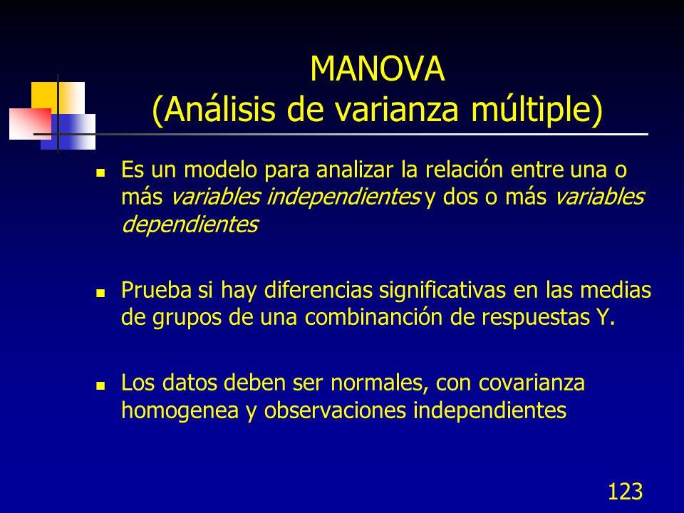 123 MANOVA (Análisis de varianza múltiple) Es un modelo para analizar la relación entre una o más variables independientes y dos o más variables depen