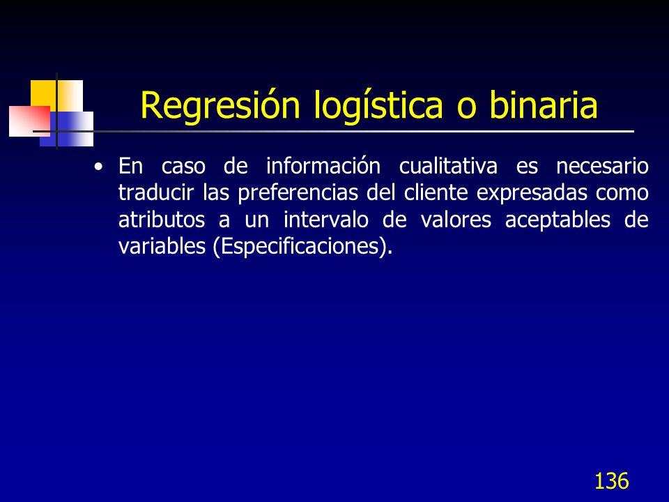 136 Regresión logística o binaria En caso de información cualitativa es necesario traducir las preferencias del cliente expresadas como atributos a un