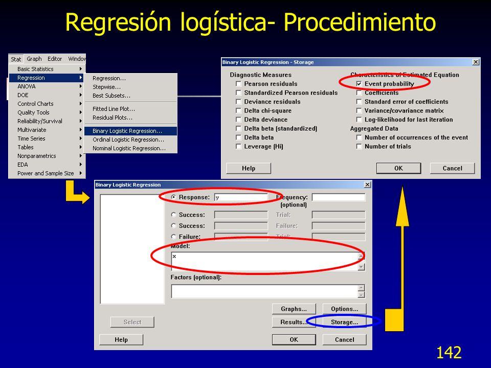 142 Regresión logística- Procedimiento
