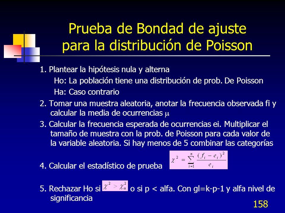 158 Prueba de Bondad de ajuste para la distribución de Poisson 1. Plantear la hipótesis nula y alterna Ho: La población tiene una distribución de prob