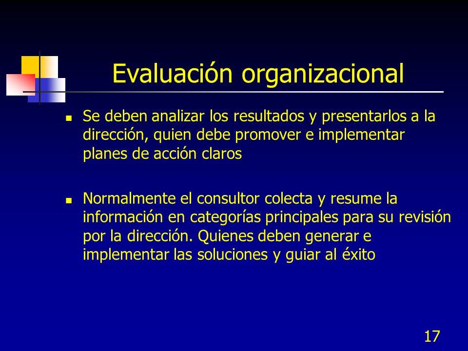 17 Evaluación organizacional Se deben analizar los resultados y presentarlos a la dirección, quien debe promover e implementar planes de acción claros